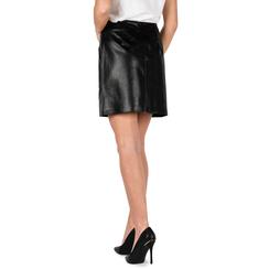 Mini jupe noir en simili-cuir imprimé serpent, Primadonna, 156501201PTNEROM, 002a