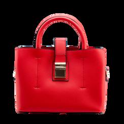 Mini bag rossa in ecopelle con tracolla a bandoliera, Borse, 122429139EPROSSUNI, 001a