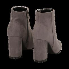 Ankle boots grigi in microfibra, tacco 9 cm , Stivaletti, 142708221MFGRIG035, 004 preview