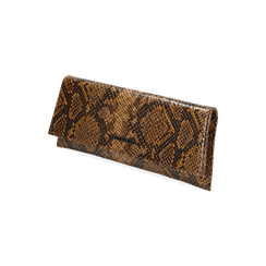 Pochette piatta marrone in eco-pelle snake print, Primadonna, 145122510PTMARRUNI, 002 preview
