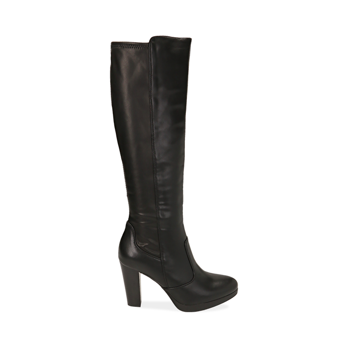 Stivali neri, tacco 9,50 cm , Primadonna, 160619077EPNERO035