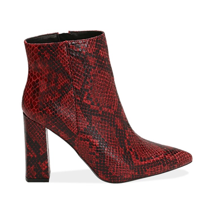 Ankle boots rossi in eco-pelle stampa pitone, tacco 9,5 cm , Primadonna, 142186672PTROSS035
