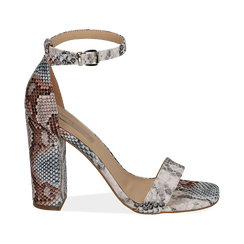 Sandali celesti stampa pitone, tacco 10,5 cm, Primadonna, 152709444PTCELE039, 001 preview