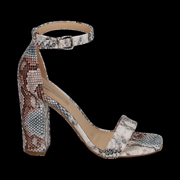 Sandali celesti stampa pitone, tacco 10,5 cm, Primadonna, 152709444PTCELE039