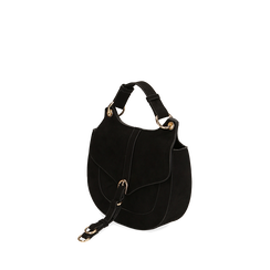 Borsa piccola nera in microfibra , IDEE REGALO, 165123106MFNEROUNI, 002a