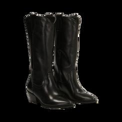 Stivali Texani Neri in vera pelle, tacco a cono 5 cm, Primadonna, 128900787VINERO036, 002 preview
