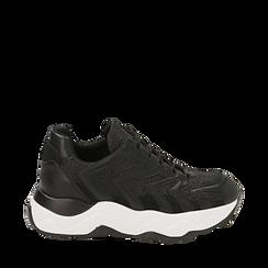 Dad shoes nere glitter, suola 5 cm , Scarpe, 142898804GLNERO035, 001a