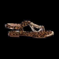Sandali infradito flat leopard in microfibra, con catenelle, Primadonna, 134909285MFLEOP036, 001 preview