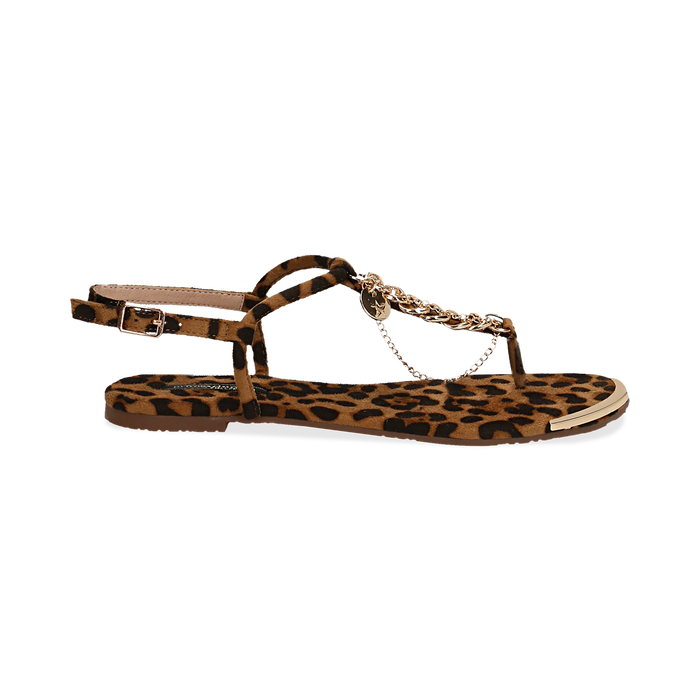 Sandali infradito flat leopard in microfibra, con catenelle, Primadonna, 134909285MFLEOP036
