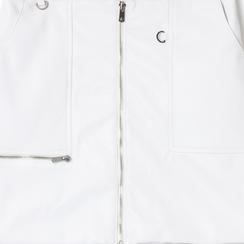 Minigonna bianca in eco-pelle con zip,