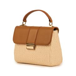 Mini bag beige in eco-pelle e rafia, Borse, 152392479RFBEIGUNI, 004 preview