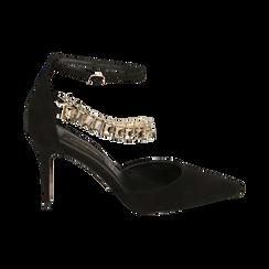 Décolleté gioiello nere in microfibra, tacco 9 cm , Primadonna, 152106650MFNERO035, 001a