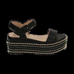 Sandali neri in eco-pelle, zeppa 7 cm , Primadonna, 154932211EPNERO035, 001 preview