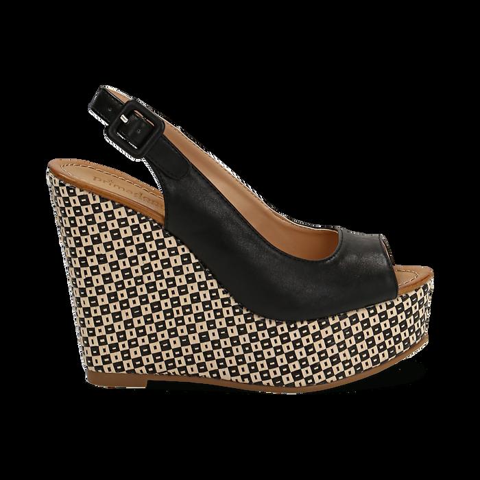 Sandali platform neri in eco-pelle, zeppa intrecciata 13 cm , Primadonna, 134907984EPNERO036