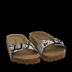 Ciabatte bianco/nere in eco-pelle snake print con suola in sughero , Zapatos, 157801210PTBINE036, 002a