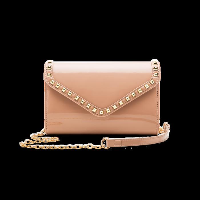 Borsa a tracolla rosa nude in ecopelle vernice, Saldi, 123386501VENUDEUNI