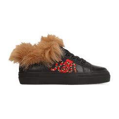 Sneakers nere con ricami animalier e dettagli in faux-fur, Primadonna, 126102020EPNERO035, 001 preview