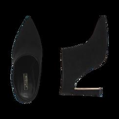 Mules nere in microfibra, tacco 10 cm  , Scarpe, 141755071MFNERO036, 003 preview