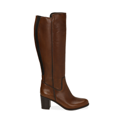 Stivali cuoio in pelle, tacco 7,50 cm, Primadonna, 167738002PECUOI036, 001 preview
