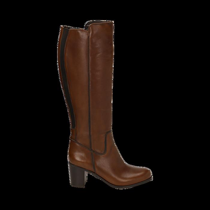 Stivali cuoio in pelle, tacco 7,50 cm, Primadonna, 167738002PECUOI037