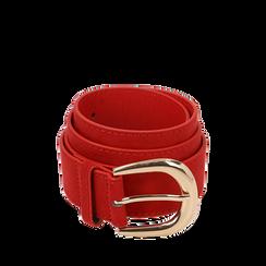Cintura rossa in microfibra, Abbigliamento, 144045701MFROSSUNI, 001a