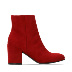 Ankle boots bordeaux in microfibra, tacco 7,5 cm , Stivaletti, 142762715MFBORD036, 001a
