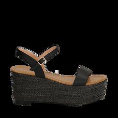 Sandali platform neri in eco-pelle, zeppa in corda 8 cm, Primadonna, 134983293EPNERO035, 001a