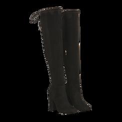 Stivali sopra il ginocchio neri, tacco 10,5 cm, 122179696MFNERO036, 002