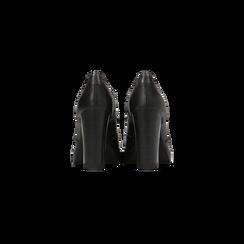 Francesine stringate nere con tacco alto, plateau e rifiniture, Scarpe, 128401245EPNERO, 003 preview