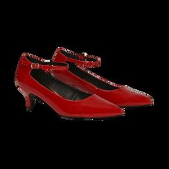 Décolleté rosse kitten heels in vernice, tacco 3 cm, Primadonna, 124951721VEROSS036, 002 preview