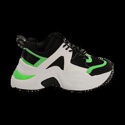 Dad shoes nero/verdi in tessuto tecnico, zeppa 8 cm , Scarpe, 147580471TSNEVE035, 001 preview