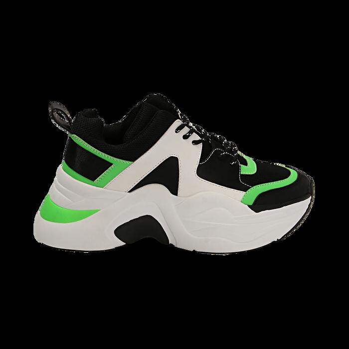 Dad shoes nero/verdi in tessuto tecnico, zeppa 8 cm , Scarpe, 147580471TSNEVE035