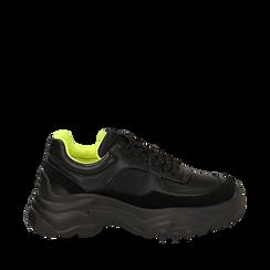 Dad shoes nere in eco-pelle, zeppa 5 cm , Scarpe, 142509513EPNERO035, 001a