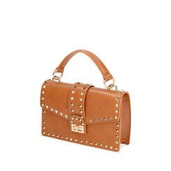 Bolso coñac pequeño con tachuelas, Primadonna, 175122990EPCOGNUNI, 002a