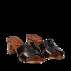 Mules nere in vera pelle, tacco 5 cm , Saldi, 137272145VANERO035, 002a