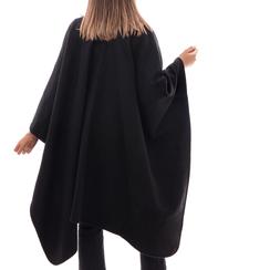 Poncho nero in tessuto , Abbigliamento, 14B400006TSNEROUNI, 002 preview