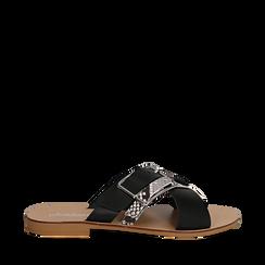 Mules nere in vera pelle con dettagli snake skin, Primadonna, 133500088PENERO035, 001a