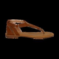 Sandali infradito cuoio in eco-pelle, Primadonna, 134958215EPCUOI036, 001 preview