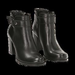 Ankle boots neri in pelle di vitello, tacco 8 cm , Scarpe, 148900604VINERO036, 002a