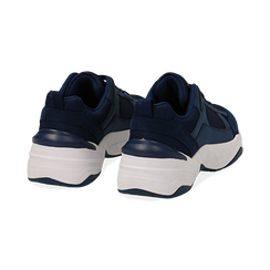 Dad shoes blu in microfibra, zeppa 4,50 cm, Primadonna, 142619462MFBLUE036, 004 preview