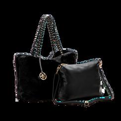 Borsa shopper nera in pelliccia con pochette e portamonete, Borse, 125702076FUNEROUNI, 004 preview