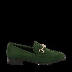 Mocasines de microfibra en color verde, Zapatos, 164964141MFVERD035, 001a