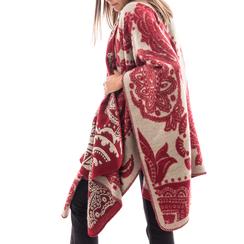 Poncho rosso con stampa paisley in tessuto , Abbigliamento, 14B400003TSROSSUNI, 002a