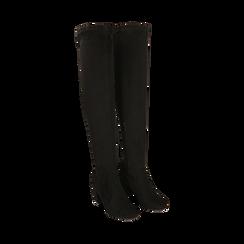 Overknee neri in microfibra, tacco 7,5 cm , Scarpe, 143021702MFNERO036, 002 preview