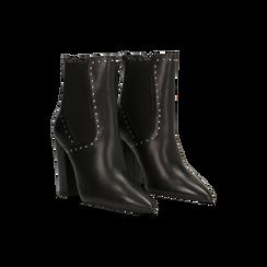 Stivaletti Chelsea neri in vera pelle con mini-borchie, tacco 10 cm, Primadonna, 12D614310VINERO, 002 preview