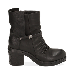 Biker boots neri in eco-pelle, tacco 5 cm , Stivaletti, 140736661EPNERO035, 001a