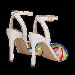 Sandali multilistino bianchi in eco-pelle effetto rainbow, tacco 11 cm, Sandali con tacco, 132120686EPBIAN035, 004 preview