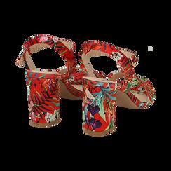 Sandali rossi in raso jungle print, tacco 8 cm, OUTLET, 154900971RSROSS036, 004 preview