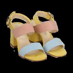 Sandalo multicolor in microfibra, tacco 8 cm,