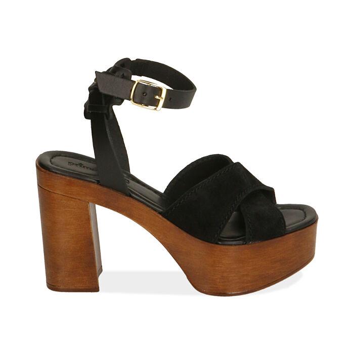 Sandali neri in camoscio, tacco 10,5 cm , Primadonna, 174304899CMNERO035